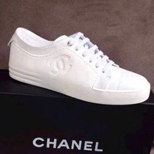 CHANEL Goatskin Lace Up Sneakers (AS IS)